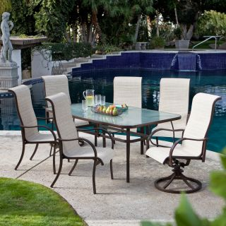 Coral Coast Del Rey Deluxe Padded Sling Dining Set   Seats 6   Patio Dining Sets