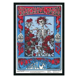 Family Dog   Grateful Dead   Skeleton and Roses Framed Wall Art   25.41W x 37.41H in.   Framed Wall Art