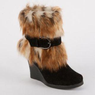 MUK LUKS Andrea Belted Faux Fur Wedge Boot   Footwear
