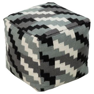 Surya 18 in. Cube Wool Pouf   Pewter / Black   Ottomans