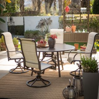 Coral Coast Del Rey Padded Sling Swivel Patio Dining Table Set   Seats 4   Patio Dining Sets