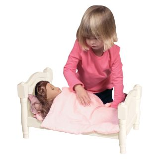 Guidecraft Doll Bed   White   Baby Doll Furniture