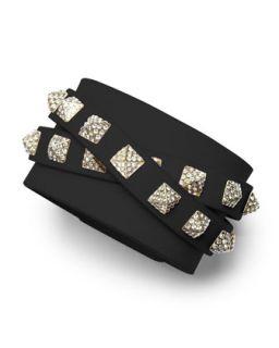 Valentino Rockstud Multi Strand Crystal Stud Leather Bracelet, Black