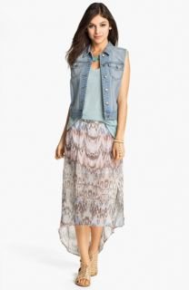 Rubbish Denim Vest & Mimi Chica Print Chiffon Maxi Skirt
