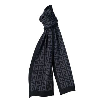 Fendi Charcoal/Grey Zucca Reversible Wool Scarf Fendi Designer Scarves & Wraps