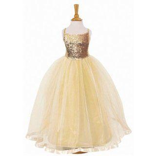 M�dchen Fasching Kost�m   Prinzessin Kleid in gold mit Pailletten 3   4 Jahre: Spielzeug
