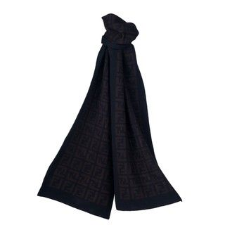 Fendi Black/Brown Zucca Reversible Wool Scarf Fendi Designer Scarves & Wraps