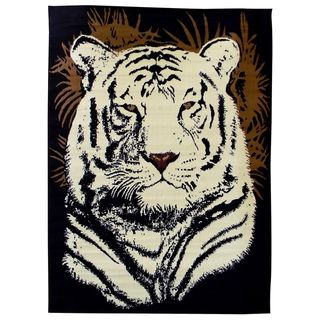 African Adventure White Tiger Head Black Area Rug (5' x 7') 5x8   6x9 Rugs