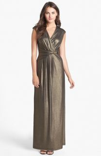 Ellen Tracy Front Wrap Metallic Jersey Maxi Dress