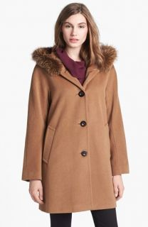 Ellen Tracy Genuine Fox Fur Trim A Line Coat (Online Only)