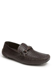 Salvatore Ferragamo Round Woven Leather Driving Shoe