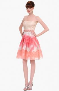 Kay Unger Strapless Watercolor Silk Dress