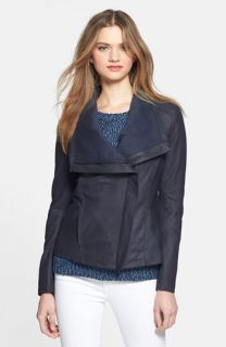 Elie Tahari Andreas Draped Collar Leather Jacket