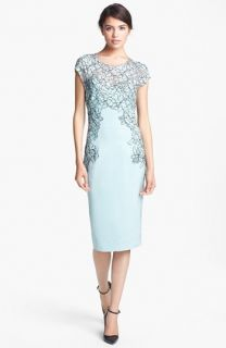 Lela Rose Hand Placed Lace Sheath Dress