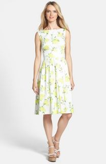 kate spade new york lyric print stretch cotton fit & flare dress