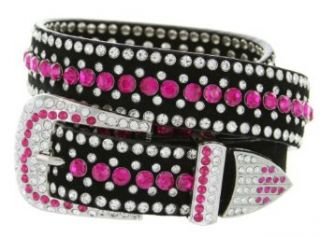 Ladies Western Rhinestone Bling Cowgirl Leather Belt (L(38 40), Clear): Clothing