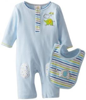 ABSORBA Baby Boys Newborn Creeper with Bib, Blue, 0 3 Months: Clothing