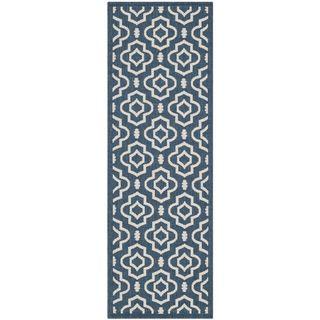 Safavieh Abstract Indoor/Outdoor Courtyard Navy/Beige Runner Rug (2'3 x 6'7) Safavieh Runner Rugs