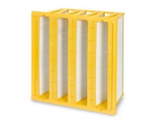 "Filtration Group 40345 P FP 4V Mini Pleat Air Filter, Wet Laid Micro Fiberglass, Yellow/White, 16 MERV, 193 square feet of media, 20"" Height x 20"" Width x 12"" Depth (Case of 1): Industrial & Scientific"
