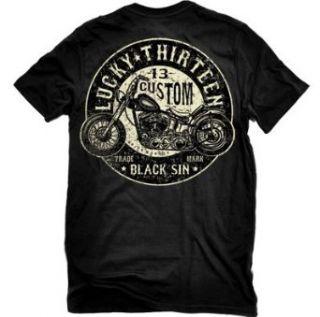 Lucky 13 Black Sin Men's T shirt (2 XL): Clothing