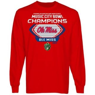 Ole Miss Rebels 2013 Music City Bowl Champions Long Sleeve T Shirt   Cardinal