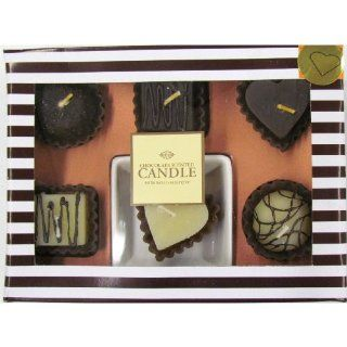 "Gift Set of 6 Italian Cake Shaped Chocolate Scented Candles (2""x2""x1.5"" Ea) and One Porcelain Plate   Candle Gift Set in a Box   They Smell so Real"