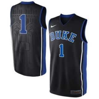 Nike Duke Blue Devils #1 Elite Replica Basketball Jersey   Black