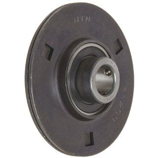 "NTN ASPF202 Light Duty Flange Bearing, 3 Bolts, Setscrew Lock, Non Relubricatable, Contact Seals, Pressed Steel, Inch, 5 29/32"" Bore, 2 1/2"" Bolt Hole Spacing Width, 3 3/16"" Height, 1034 Static Load Capacity, 2158 Dynamic Load Capacity: Indu"