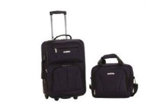 Rockland Luggage 2 Piece Printed Luggage Set, Black, Medium Clothing