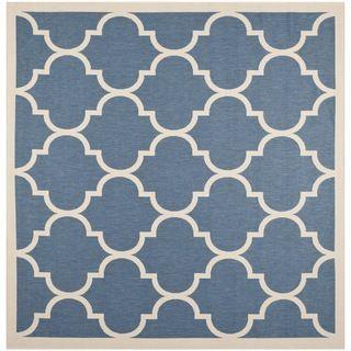 Safavieh Modern Indoor/Outdoor Courtyard Blue/Beige Area Rug (7'10 Square) Safavieh Round/Oval/Square