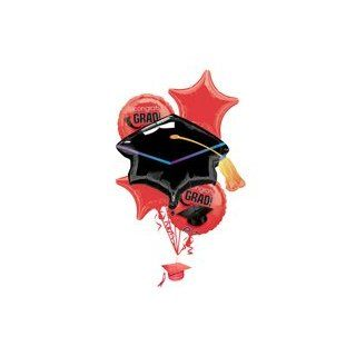 GRAD Congrats Graduation Black HAT Red Star Party (5) BALLOONS Bouquet Set Kit Health & Personal Care