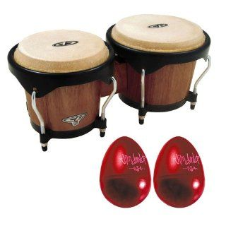 Latin Percussion CP221 DW CP Traditional Bongo Dark Wood w/ 2 Piece Gels Maracas Single Egg Shaker: Musical Instruments
