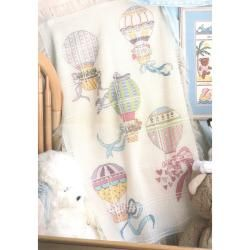 Hot Air Balloons Baby Afghan Counted Cross Stitch Kit MCG Textiles Cross Stitch Kits