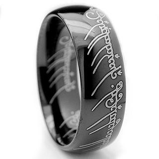 Tungsten Carbide Unisex Black plated Laser etched Elvish Script Ring Men's Rings