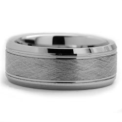 Tungsten Carbide Men's Brushed Center Ring (8 mm) Men's Rings