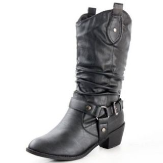 West Blvd Womens Cowboy Boots Casual Western Shoes Chunky Heels Cowgirl Slouch Roper Harness Mid Calf Buckle Slouchy Strap Round Toe Buckled Ruched Belted Dress Fashion Designer Comfort: Shoes