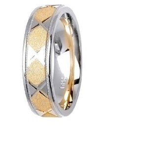 L.A. Wedding 14KLAW1029 S4.5 6mm 14K Two Tone Wedding Ring   Size 4.5: L.A. Wedding: Everything Else