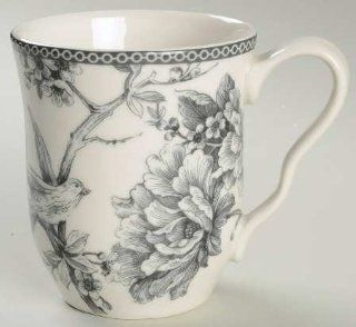 222 Fifth (PTS) Adelaide Grey & White Mug, Fine China Dinnerware
