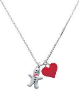 Silver Gingerbread Man with Red Scarf and Green Swarovski Crystal Buttons and: Jewelry