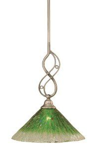 Toltec Lighting 232 BN 447 Jazz Mini Pendant Brushed Nickel Finish with Kiwi Green Crystal Glass, 12 Inch: Home Improvement