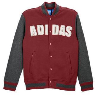 adidas Originals Fleece Varsity Jacket   Mens   Casual   Clothing   Cardinal/Dark Grey Heather