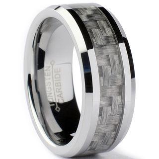 Tungsten Carbide Men's Grey Carbon Fiber Inlay Ring (8 mm) Men's Rings