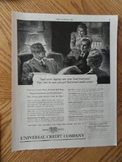"Universal Credit Company, Vintage 30's full page print ad. black and white, Illustration (""Dad we're buying our new ford tomorrow"")Original vintage 1939 Collier's Magazine Print Art. : Everything Else"