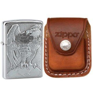 Zippo 200HDH231 Eagle Emblem Harley Davidson Brushed Chrome Windproof Lighter with Zippo Brown Leather Clip Pouch Sports & Outdoors