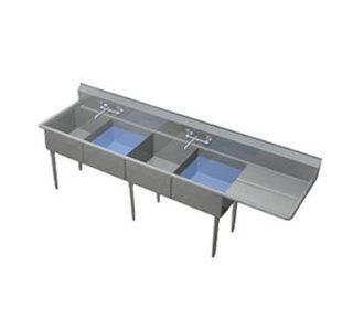 Duke 244S 136 R Sink, (4) 24 x 24 x 14 in, 36 in R Drainboard, 10 in Splash, 14 ga Stainless, Each: Kitchen & Dining