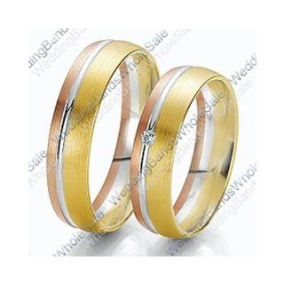 18k Tri Color Rose, White & Yellow Gold 7mm 0.03ct His & Hers Wedding Rings Set 244: Wedding Bands Wholesale: Jewelry