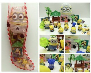 """Despicable Me 20 Piece Holiday Christmas Stocking Stuffer Featuring 2"""" Minion Figures, Beach Accessories, Minion Stickers, Minion Mummy Plush and More: Toys & Games"""