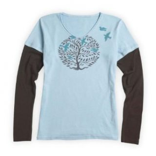 Green 3 Apparel Layered Circle Tree Organic USA made V neck (Extra Small, French Blue)