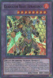 Yu Gi Oh!   Gladiator Beast Heraklinos (LCGX EN253)   Legendary Collection 2   1st Edition   Super Rare: Toys & Games