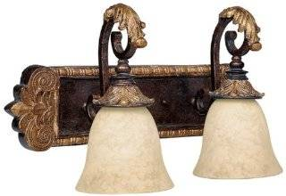 Capital Lighting 1462GL 276 2 Light Bathroom Fixture, Bronze with Gold Leaf Finish and Rust Scavo Glass